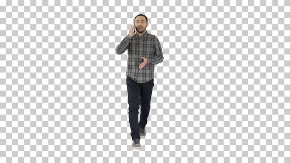Thumbnail for Young man talking on mobilephone, Alpha Channel