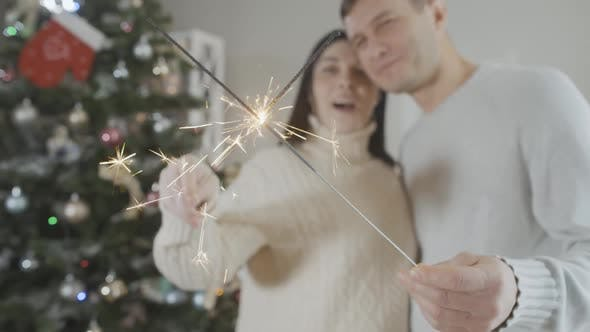 Thumbnail for Closeup of Sparklers with Blurred Smiling Happy Couple Talking at Background