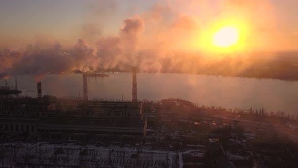 Thumbnail for Industry Pipes Pollute the Atmosphere With Smoke. Aerial View