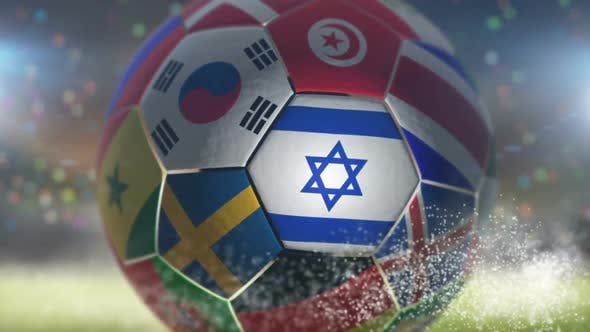 Cover Image for Israel Flag on a Soccer Ball - Football in Stadium