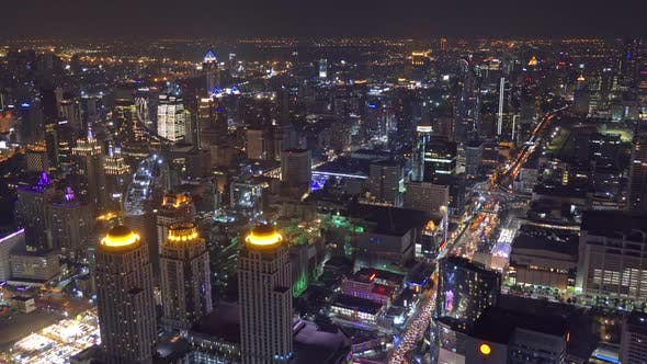 Thumbnail for Aerial View on Illuminated Bangkok at Night