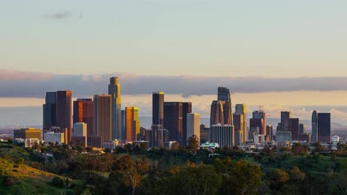 Time Lapse of the Los Angeles skyline at twilight