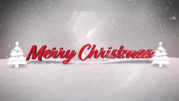 Thumbnail for Animated closeup Merry Christmas text, mountains, forest and snowing landscape