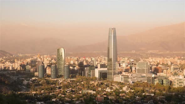 Thumbnail for The city skyline of Santiago from Day to Night