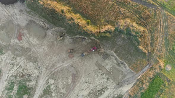 Thumbnail for Aerial shot of a construction site in a quarry