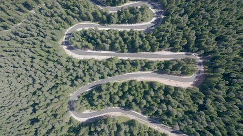 Aerial view from drone of curves of the mountain road
