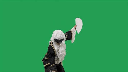 Portrait of Courtier Gentleman in Black Historical Vintage Suit White Wig and the Mask Bowing and