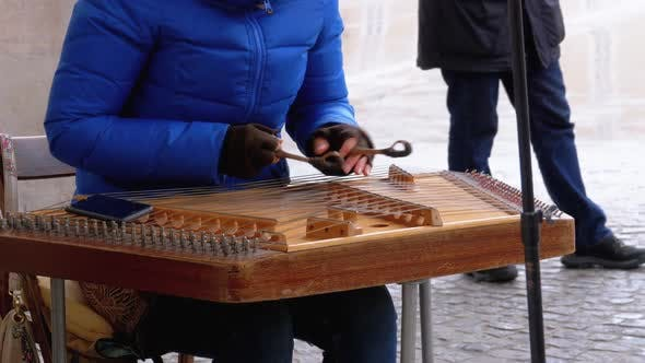 Thumbnail for Street Musician Plays a Musical Instrument - Folk Cimbalom