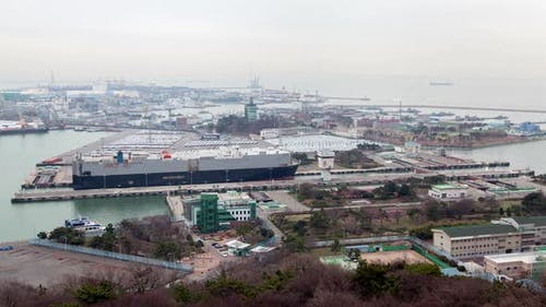 Trucking Ship in Transportation Korea, Incheon Port