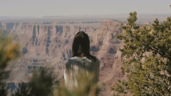 Thumbnail for Back View Happy Young Woman Watching Incredible Hot Summer Panorama of Grand Canyon Mountain Scenery