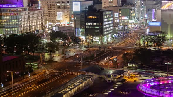 Thumbnail for Nagoya City Night Street Urban Traffic Timelapse