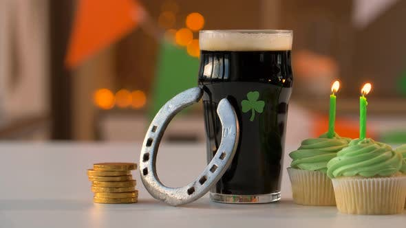 Thumbnail for Glass of Beer Cupcakes Horseshoe and Gold Coins