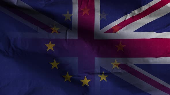 EU UK Flag Textured Waving Background 4K