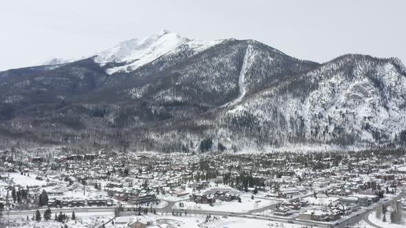 Thumbnail for Frisco Colorado Aerial Winter Snowy Mountain Town Landscape