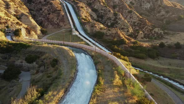 Thumbnail for Aerial shot of some of the aqueducts that helps supply water to Los Angeles.