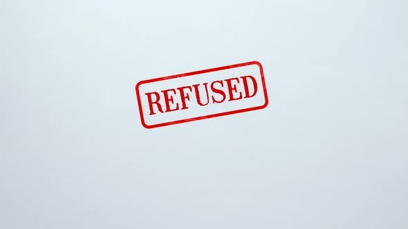 Thumbnail for Refused Seal Stamped on Blank Paper Background, Application Not Approved, Denied