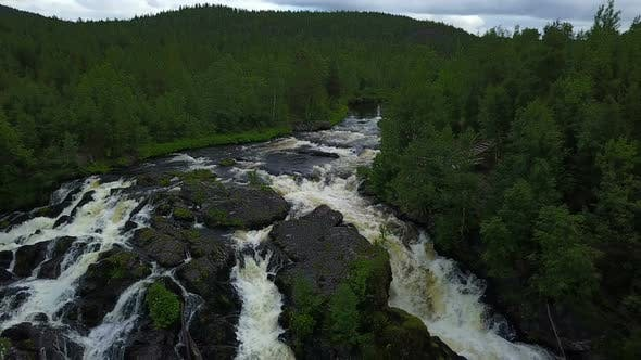 Thumbnail for Aerial Sliding By the Forest River at Karelia, Russia