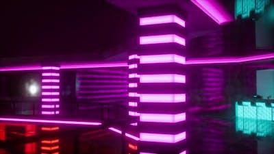 Empty Night Club with Neon Lights