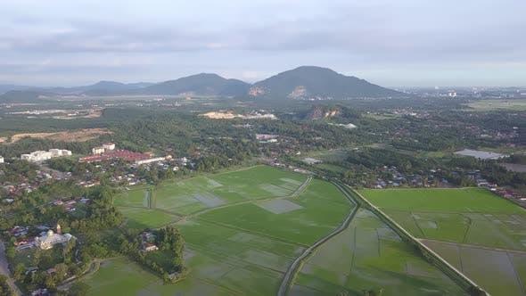 Fly toward Bukit Mertajam paddy field