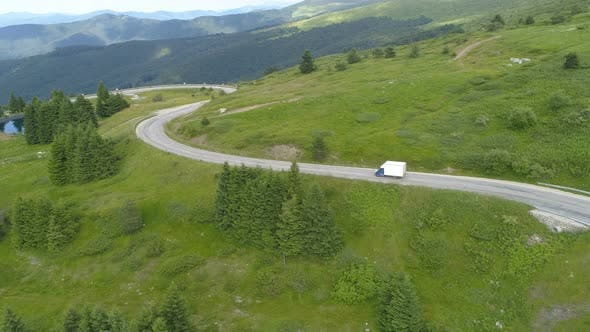 Thumbnail for Logistic Mini Truck Lorry Transportation Driving on Mountain Road. Domestic Logistic Delivery and