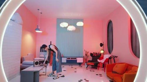 Bizarre Man Dancing Vogue in Vintage Studio with Neon Light