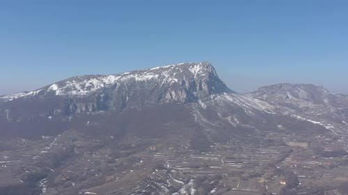 Winter scenery with Stol mountain top 4K drone video