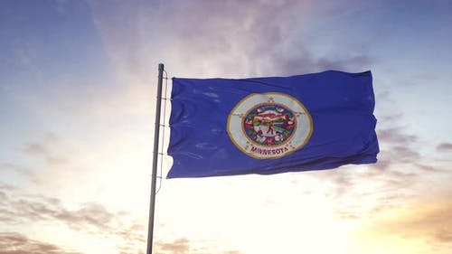 State Flag of Minnesota Waving in the Wind