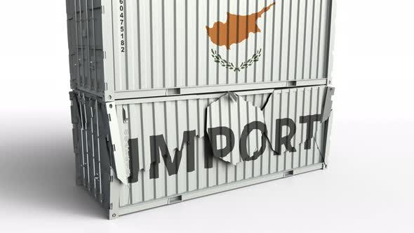 Thumbnail for Container with Flag of Cyprus Breaks Container with IMPORT Text