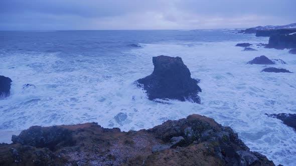 Thumbnail for Iceland Rough Ocean Water Crashing Against Rock Cliffs In Arnarstapi 2