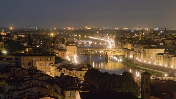 Twilight Hyperlapse of Florence Old Town