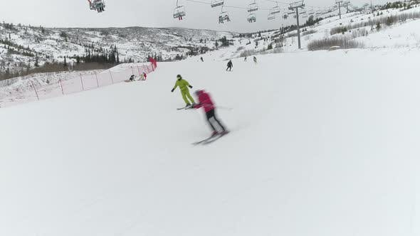 Thumbnail for Skiers on a Skiing Run