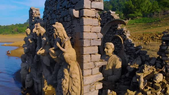 Thumbnail for Buddha statues, Kadadora Temple Kothmale, Srilanka Temple. Temple in kothmale dam. Underwater temple