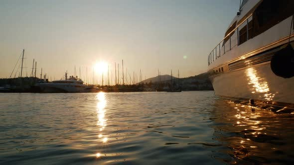 Thumbnail for Time Lapse Sunset in the Port of the Resort Town of Bodrum, Turkey. Luxury Yacht Moored in the Bay