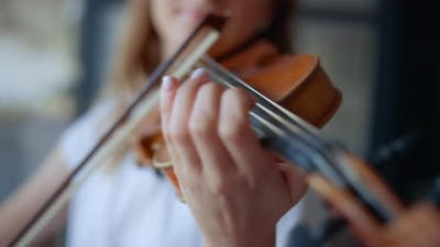 Woman Hands Playing Violin. Musician Pressing Strings on Violin with Fingers