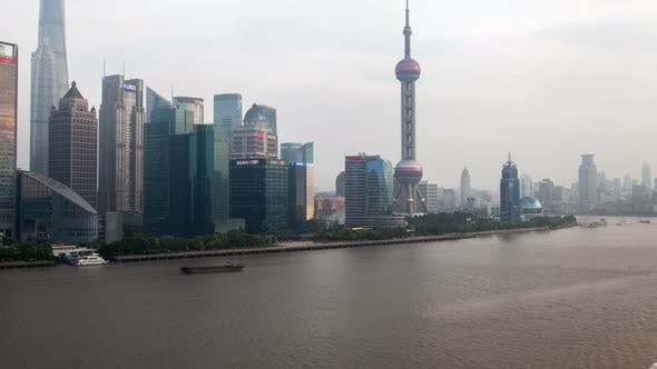 Thumbnail for Shanghai River Cityscape Pan Up
