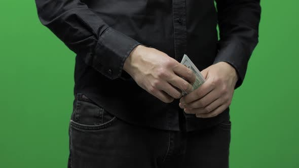 Thumbnail for Receive Payment Concept. Man's Hand Hold Cash Money. Dollar Bills