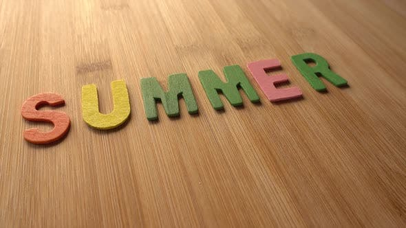 Thumbnail for Word Summer in Wood Background Rotation