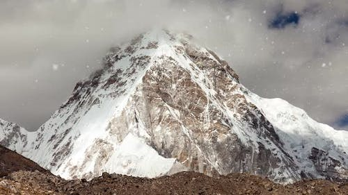 View of Snowcapped Rock Mountains in Nepal