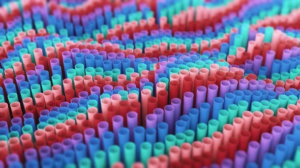 4K Abstract geometric cloner rings arranged in Digital tubes colorful shapes moving like waves.