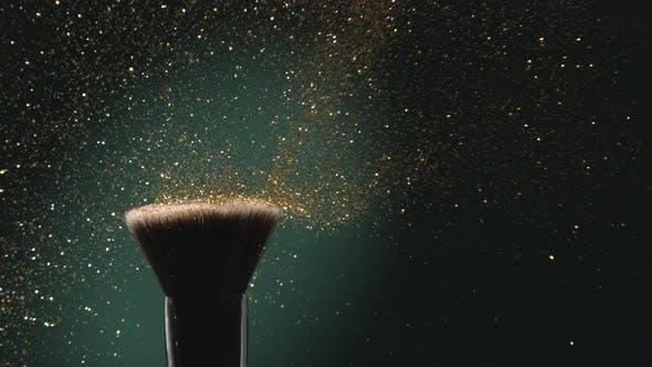 Glitter on Make-up Brush Flying Away