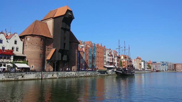 Thumbnail for Old Historical Buildings and Promenade Street in Gdansk City on Wistula river in Poland, Europe