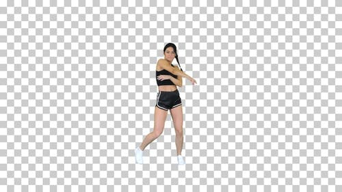 R'n'B girl in shorts walking dancing, Alpha Channel