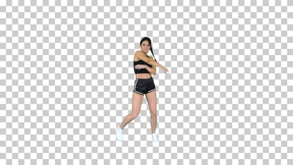 Thumbnail for R'n'B girl in shorts walking dancing, Alpha Channel