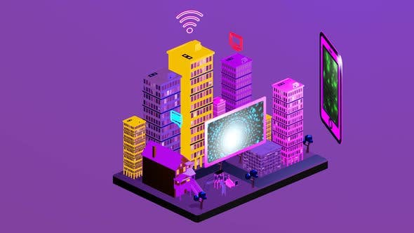 City isometric with internet data as link