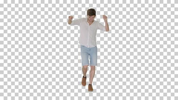 Thumbnail for Cheerful young man in casual clothes dancing, Alpha Channel