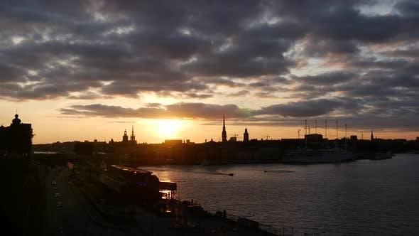 Thumbnail for Sunset Stockholm skyline in Sweden
