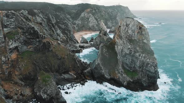 Thumbnail for Bare Cliffs on Ocean Coast Washed By Picturesque Waves