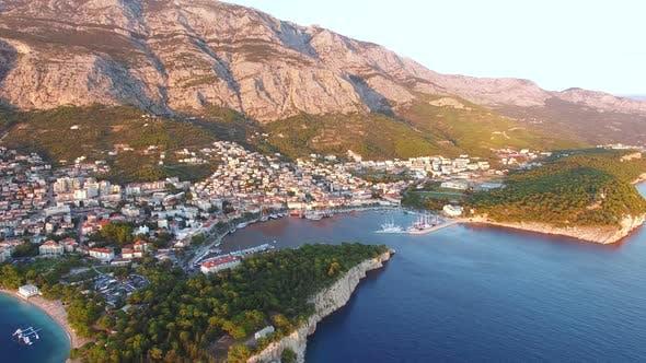 Thumbnail for Aerial view of sunset at Makarska harbour in Dalmatia