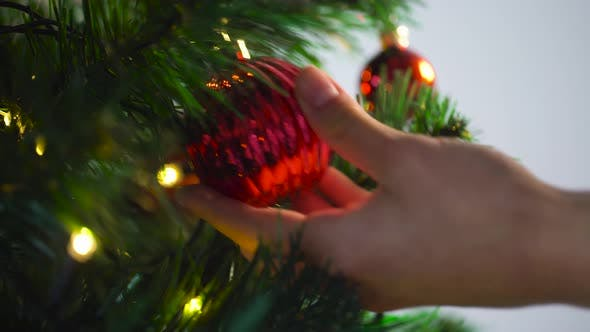Thumbnail for Hand Decorating Christmas Tree with Ball