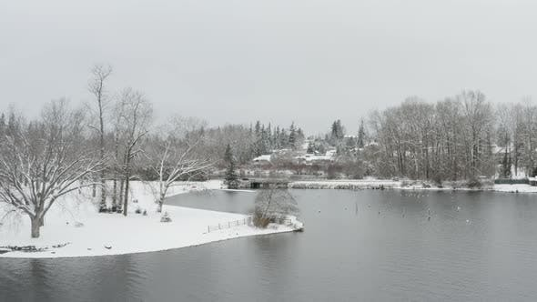 Thumbnail for Lake Whatcom Bellingham Washington Snowy Winter Day Lakefront Aerial